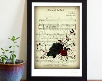 Grateful Dead, Friend of the Devil, on Song Music Sheet, Print
