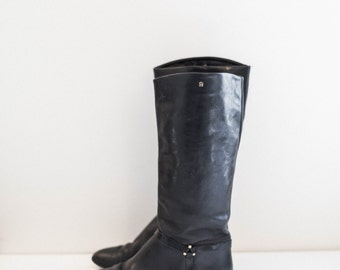 black leather riding boots - fashion boots - high calf - women's size 7