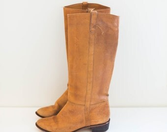 caramel brown leather riding boots - cowboy boots - women's size 8