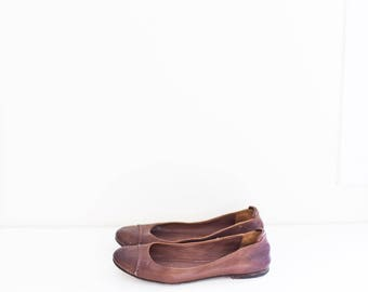 FRYE brown leather flats - women's dress shoes size 9