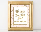 Party Favor Sign, Pink & Gold Glitter Confetti Sign, Baby Girl Shower Favor Sign, 2 Sizes, DIY Printable, INSTANT DOWNLOAD