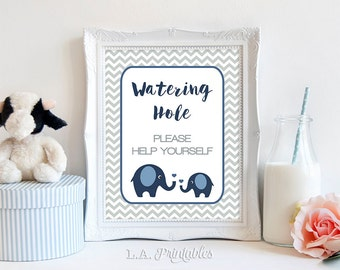 Watering Hole Drinks Sign, Drink Table Sign, Elephant Baby Shower, Navy and Grey Chevron, Baby Boy, 2 Sizes, DIY Printable, INSTANT DOWNLOAD