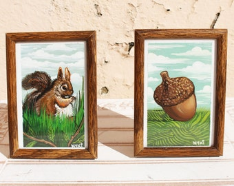 Don't Touch that Squirrel's Nuts! One of a Kind Gouache Painting Squirrels Small Dipdych Partner Painting