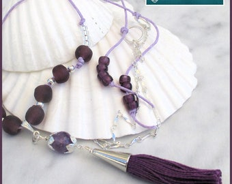 Long Purple Tassel Cord Necklace, Purple  and Silver Chain Necklace, Long Tassel Pendant Necklace, Cord Knotted Necklace, Handmade Tassel