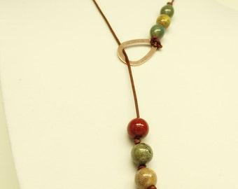 Red & Copper Necklace-Larait Necklace-Boho Jewelry-Leather Larait Necklace-OOAK Necklace-Y Necklace-Leather Jewelry-Ceramic Bead Necklace