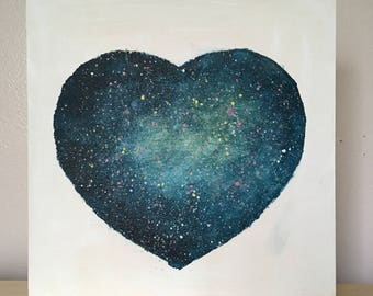 Uncharted 2.6 // Original Acrylic Painting on Wood, One of a Kind, Heart Shaped, Science Lovers, Space, Stars, Universe, Cosmos, Astronomy
