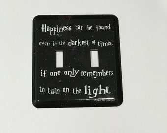 DOUBLE SWITCHPLATE -  Dumbledore Quote Light Switch Plate - Happiness Can Be Found - Starry Night