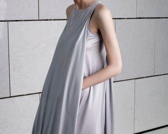 Prom dress, Short silver dress, minimal summer dress, knee length dress, sleeveless short dress, loose fit pocket dress, modern layer dress