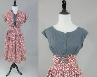 50s Red Gray Dress - Matching Bolero Jacket - Summer Cotton - Full Skirt - Rhinestone Buttons - Vintage 1950s - M L
