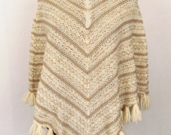 Vintage 70's Poncho Cape Tan Cream Ivory Chevron Design withTassels and Metal Zipper Size S / Small Hippie Boho