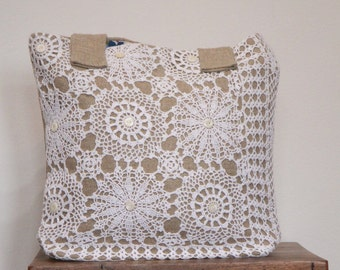 Linen and Lace tote with mother of pearl buttons