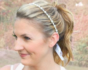Simple Pearl Bridal Headband - Elegant Wedding Headband - Pearl Tie Hair Jewelry - Simple Pearl Headband - Minimalist