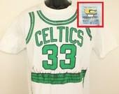 Larry Bird Boston Celtics vintage t-shirt M/L white 90s NBA basketball uniform Competitor Logo 7