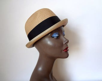 Vintage 1950s Straw Bowler Hat by Thomas Begg