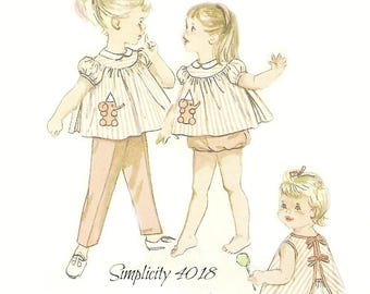 Infant Girl Top, Pants, Apron and Ruffled Bloomers Pattern Simplicity 4018 Chest 19