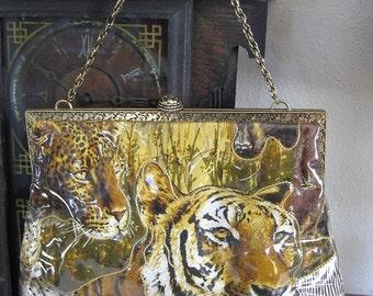 Beautiful Handbag African Wildlife Big Cats Giraffe By Designer Delill Wearable ART Animal Lover