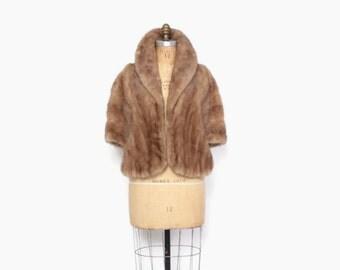 Vintage 50s MINK STOLE / 1950s Autumn Haze Golden Tan Fur Jacket Stole Pop Up Collar