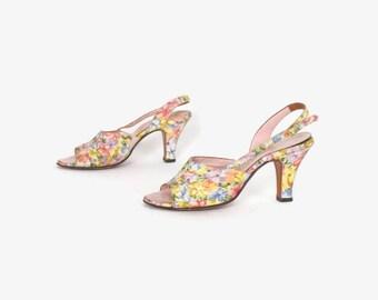 Vintage 60s FLORAL Print HEELS / 1960s Pastel Peep Toe Slingback Pumps Shoes 6 1/2