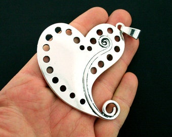 Heart Pendant Charm Antique Silver Tone Large Size with Attached Loop - SC6235