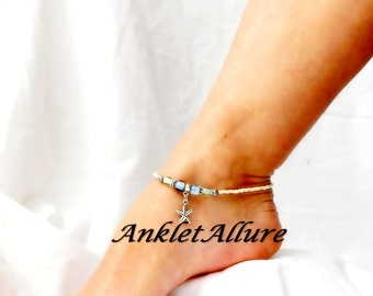 Beach Anklet Starfish Anklet Sea Sky Cruise Vacation Body Jewelry Crystal Foot Jewelry Silver Ankle Bracelet