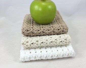 Cotton wash cloths, eco-friendly dish cloths, 3 wash cloths