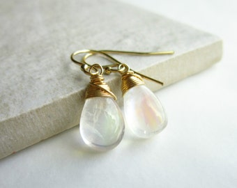 Clear Moonstone Earrings - High Quality Moonstone Jewelry - 14k Gold Earrings - Gold Dangle Earrings Gold - Everyday Earrings Handmade