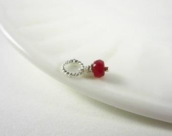 Tiny Solo - Precious Ruby Jewelry - Sterling Silver Charms - Genuine Ruby Birthstone - July Birthstone Charm - 40th Anniversary Gift