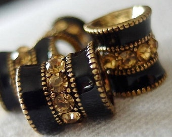 4pc Topaz Crystal Rhinestone Black Enamel Bands Antique Gold large hole Spacer Barrel Bead, 10mm x 10mm, hole 4.5mm, pkg 4 pieces