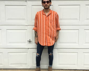FREE SHIPPING!: Vintage 1970's Men's Oversized Orange Detailed Button Up Shirt