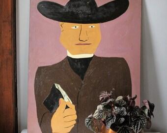 Portrait of a Priest - Frank Diaz Escalet - Acrylic on Board - Call Someone