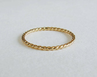 Rope ring, twisted ring, gold filled stacking band.
