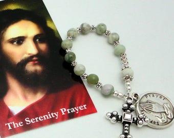Serenity Prayer Roman Catholic Chaplet in Peace Jade with TierraCast Pewter Cross
