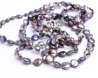 """Long Peacock Grey Blue Freshwater Coin Pearl Necklace 59"""" with Black Diamond Swarovski Crystal and Toggle Clasp. Wrap"""