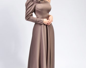 Tatiana 2 long dress (turquoise, greje, light purple)