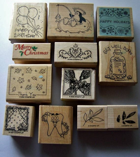 Wood mounted rubber stamp lot, Chrstmas card stamping ...