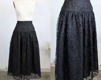Vintage 1970s 1980s Black Lace Skirt / Tea Length Skirt With Sequins / Full Skirt / Victorian Inspired Style / Gypsy Gothic Clothing