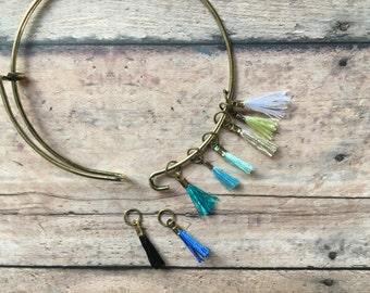 Stitch Marker Bracelet - set of 8 lightweight, blue tassels for your knitting project bag