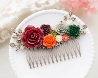 Red Burgundy Orange Green Wedding Bridal Hair Comb, Country Chic Rose Floral Hair comb, Garden Wedding Hair Accessory, Leaf Flower Comb