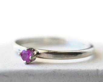 Natural Ruby Ring, Simple 3mm Gemstone Engagement Ring, Custom Engraved Genuine Ruby Jewelry, Minimalist Dress Ring