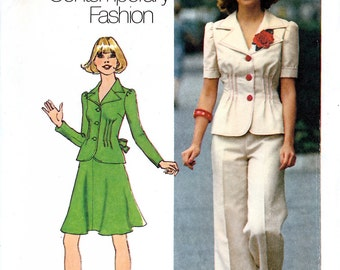 Simplicity 6751 Vintage 70s Sewing Pattern for Misses' Unlined Jacket, Short Skirt and Pants - Uncut - Size 8