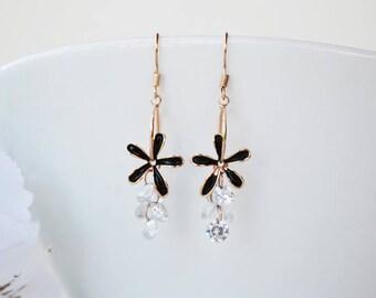 SALE - Clear Crystal Fairy Earrings, Dainty Black Flower Gold Earrings