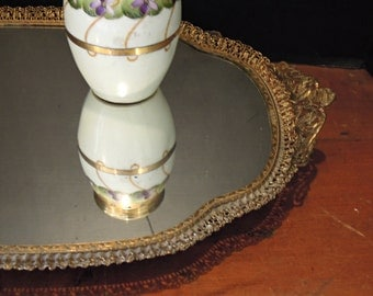 Vintage Gold Oval Vanity Mirror / Mirror Patina / Scroll Pattern / Filigree Mirror / Boudoir Glass Mirror