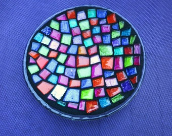 """MOSAIC CANDLEHOLDER / TRIVET - 6.5"""" Round Glass Base - Vibrant, Multicolored Glass Tiles in a Rainbow of Colors / Unique - Ready to Ship!!"""