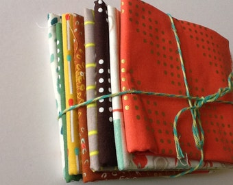 DESTASH, Cotton and Steel Fat Quarter Bundle , 18x22 Fabric, 8 Fat Quarters