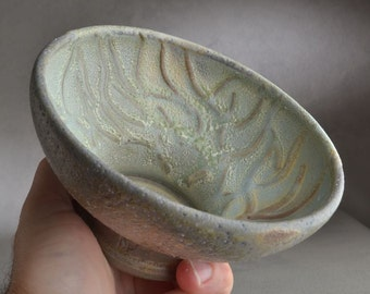 Shaving Bowl Ready To Ship Wood Fired Random Lines Shaving Bowl by Symmetrical Pottery