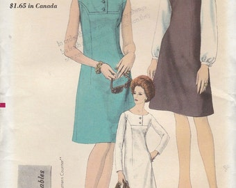 Vintage 1960s Vogue Sewing Pattern 6504 Misses Dress Jumper Blouse / Bust 34 Size 14