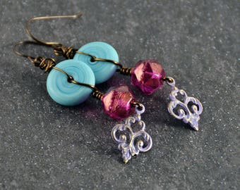 Turquoise Lampwork  Pink Violet Patina Natural Brass Wire wrapped Earrings