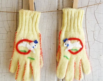 Vintage Child's Doggie Gloves - Yellow Knit with White Felt Dog Decoration - Mid-Century 1950s or 1960s
