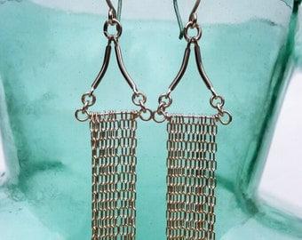 Delicate Silver Chain Earrings Sterling Silver Dangles Geometric Multi Chain Tassel Earrings Rectangle Fringe Earrings Waterfall Earrings