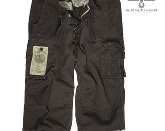 Black Prewash Air Combats 3/4 Pants